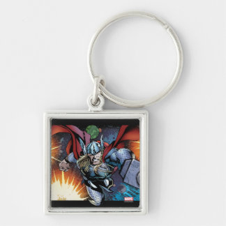 Thor Flying Through Space Comic Panel Silver-Colored Square Key Ring
