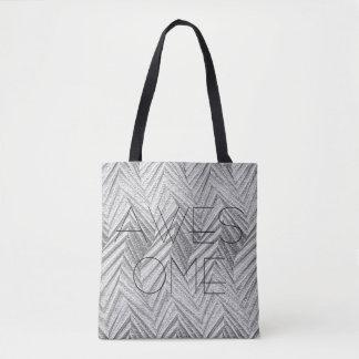 Three dimensional silver geometric engraving glam tote bag