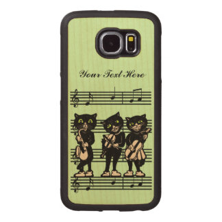 Three Fun Vintage Musician Cats on Music Sheet Wood Phone Case
