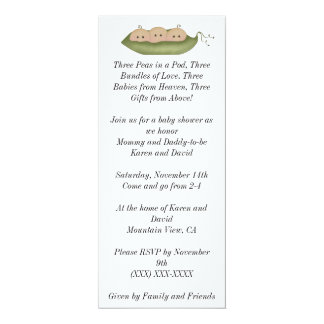 Three Peas in a Pod 10 Cm X 24 Cm Invitation Card