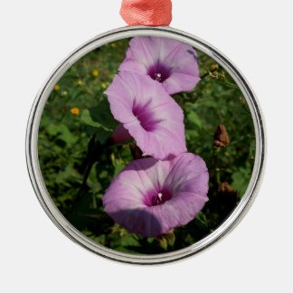 Three Pink Morning Glories Silver-Colored Round Decoration