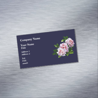 Three Pink Roses With Leaves Magnetic Business Cards