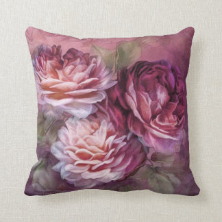 Three Roses - Burgundy - Designer Art Pillow Cushions