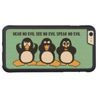 Three Wise Penguins Design Graphic Carved® Maple iPhone 6 Plus Bumper Case