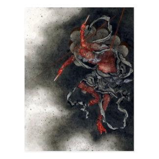 """Thunder God"" by Hokusai Postcard"