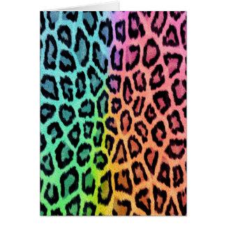 Tie Dye Leopard Print Greeting Card