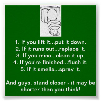 TOILET BATHROOM RULES POSTER