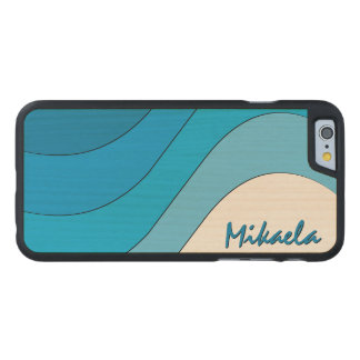Tonal Wave Blue Striped Personalized Carved® Maple iPhone 6 Slim Case