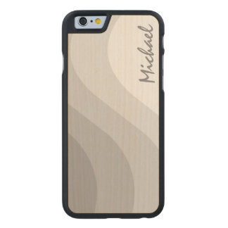 Tonal Wave Gray Striped Personalized Carved® Maple iPhone 6 Case