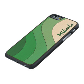 Tonal Wave Green Striped Personalized Carved® Maple iPhone 6 Case