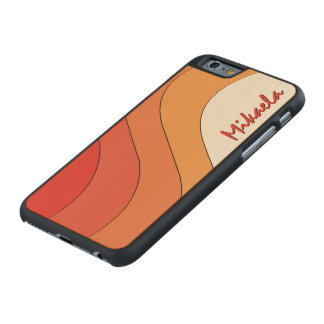 Tonal Wave Orange Striped Personalized Carved® Maple iPhone 6 Slim Case