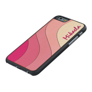 Tonal Wave Pink Striped Personalized Carved® Maple iPhone 6 Slim Case