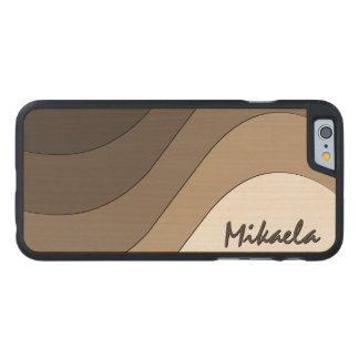 Tonal Wave Taupe Striped Personalized Carved® Maple iPhone 6 Slim Case