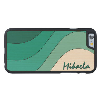 Tonal Wave Teal Striped Personalized Carved® Maple iPhone 6 Slim Case