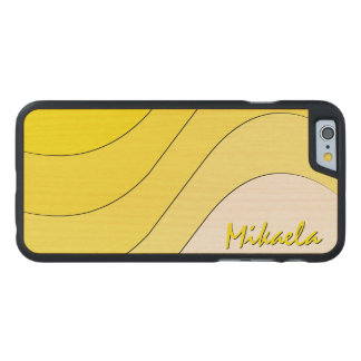 Tonal Wave Yellow Striped Personalized Carved® Maple iPhone 6 Slim Case