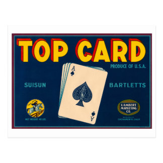 Top Card Suisun Bartletts Vintage Crate Label Postcard