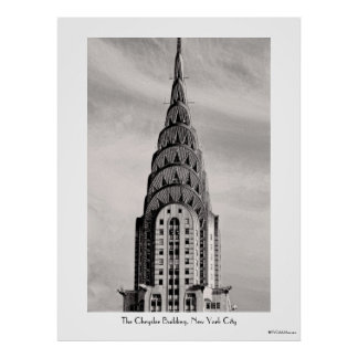 Top of the Chrysler Building NYC - B&W Poster