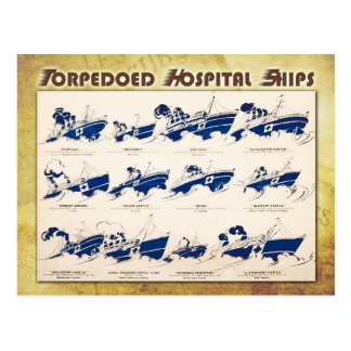 Torpedoed Hospital Ships in WWI Postcard