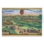 Town Plan of Grodno, from 'Civitates Orbis Terraru Greeting Card