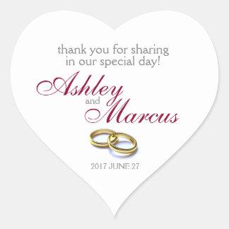 Traditional Wedding Rings Heart Sticker