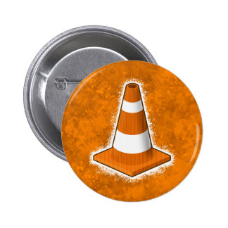 Traffic Safety Cone Splatter 6 Cm Round Badge