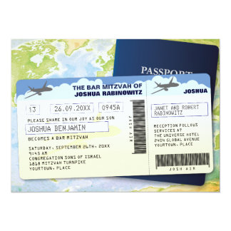 Travel Documents Bar or Bat Mitzvah 14 Cm X 19 Cm Invitation Card