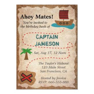 Treasure Map, Pirate Theme Birthday Party 11 Cm X 16 Cm Invitation Card