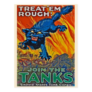 Treat 'em Rough - Join the Tanks Vintage Postcard