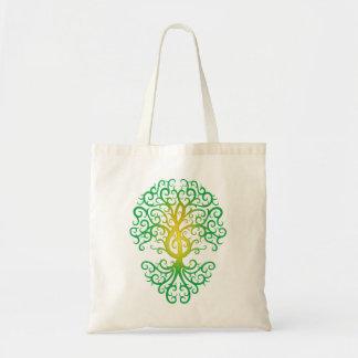 Treble Clef Tree, green Budget Tote Bag