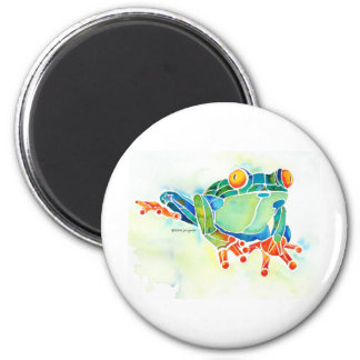 Tree Frog Whimsical Green 6 Cm Round Magnet