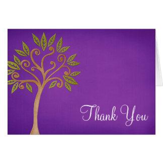 Tree of Life Swirls Purple Thank You Note Card