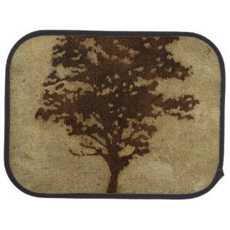 Tree Silhouette on Bronze Background Floor Mat
