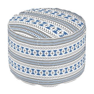 Trendy Aztec Tribal Print Geometric Pattern Blue Round Pouffe