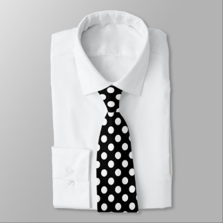 Trendy Black and White polka dots pattern Tie