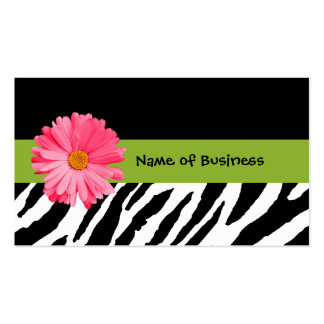 Trendy Black And White Zebra Print Pink Daisy Pack Of Standard Business Cards