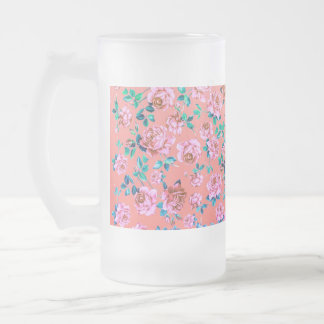 Trendy Bright Girly Pink Vintage Floral Monogram Frosted Glass Mug