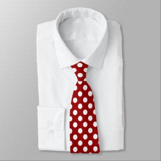 Trendy Dark red and White polka dots pattern Tie