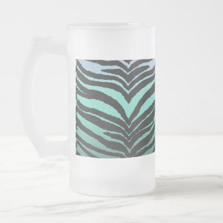 Trendy Girly Zebra Print Faded Teal to White Frosted Glass Mug