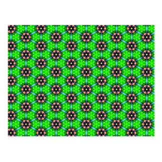 Trendy Lime Green Floral Pattern Postcard