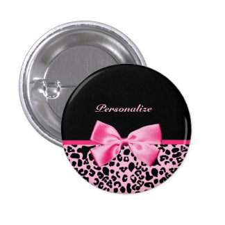 Trendy Pink And Black Leopard Hot Pink Ribbon 3 Cm Round Badge