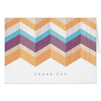 Trendy Purple Orange & Blue Chevron Thank You Note Card