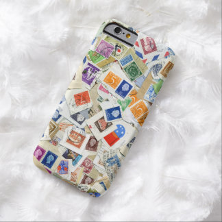 Trendy Retro Postage Stamp Collage Travel Inspired Barely There iPhone 6 Case