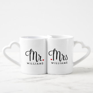 Trendy Script Mr. and Mrs. Couple Mugs