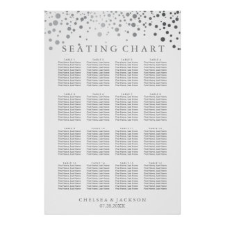 Trendy Silver Dots - Seating Chart Poster