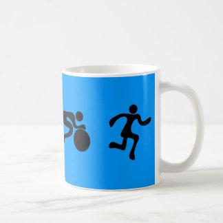 TRI Triathlon Swim Bike Run BLACK Bumper Design Basic White Mug