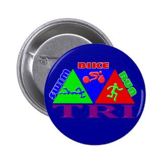 TRI Triathlon Swim Bike Run PYRAMID Design 6 Cm Round Badge