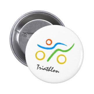 Triathlon logo 6 cm round badge