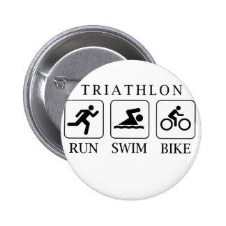 Triathlon run, swim and bike 6 cm round badge