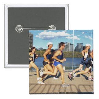Triathloners Running 2 15 Cm Square Badge