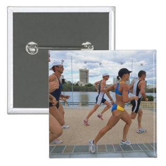 Triathloners Running 4 15 Cm Square Badge
